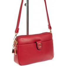 На фото 1 - Женская сумка кросс-боди из экокожи, цвет красный