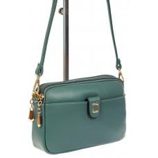 На фото 1 - Женская сумка кросс-боди из экокожи, цвет зеленый