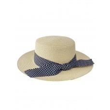 На фото 1 - Летняя женская шляпка с бантом в горошек, цвет бежевый