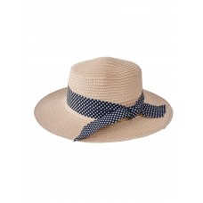 На фото 1 - Летняя женская шляпка с бантом в горошек, цвет пудровый