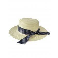 На фото 1 - Летняя женская шляпка с бантом в горошек, цвет молочный