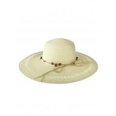 На фото 1 - Плетёная женская шляпа с широкими полями, цвет белый