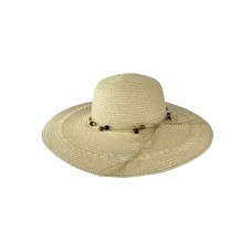 На фото 1 - Плетёная женская шляпа с широкими полями, цвет молочный