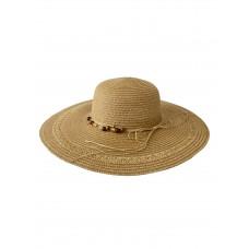 На фото 1 - Плетёная женская шляпа с широкими полями, цвет коричневый