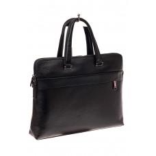 На фото 1 - Мужская сумка-папка из натуральной кожи, цвет черный