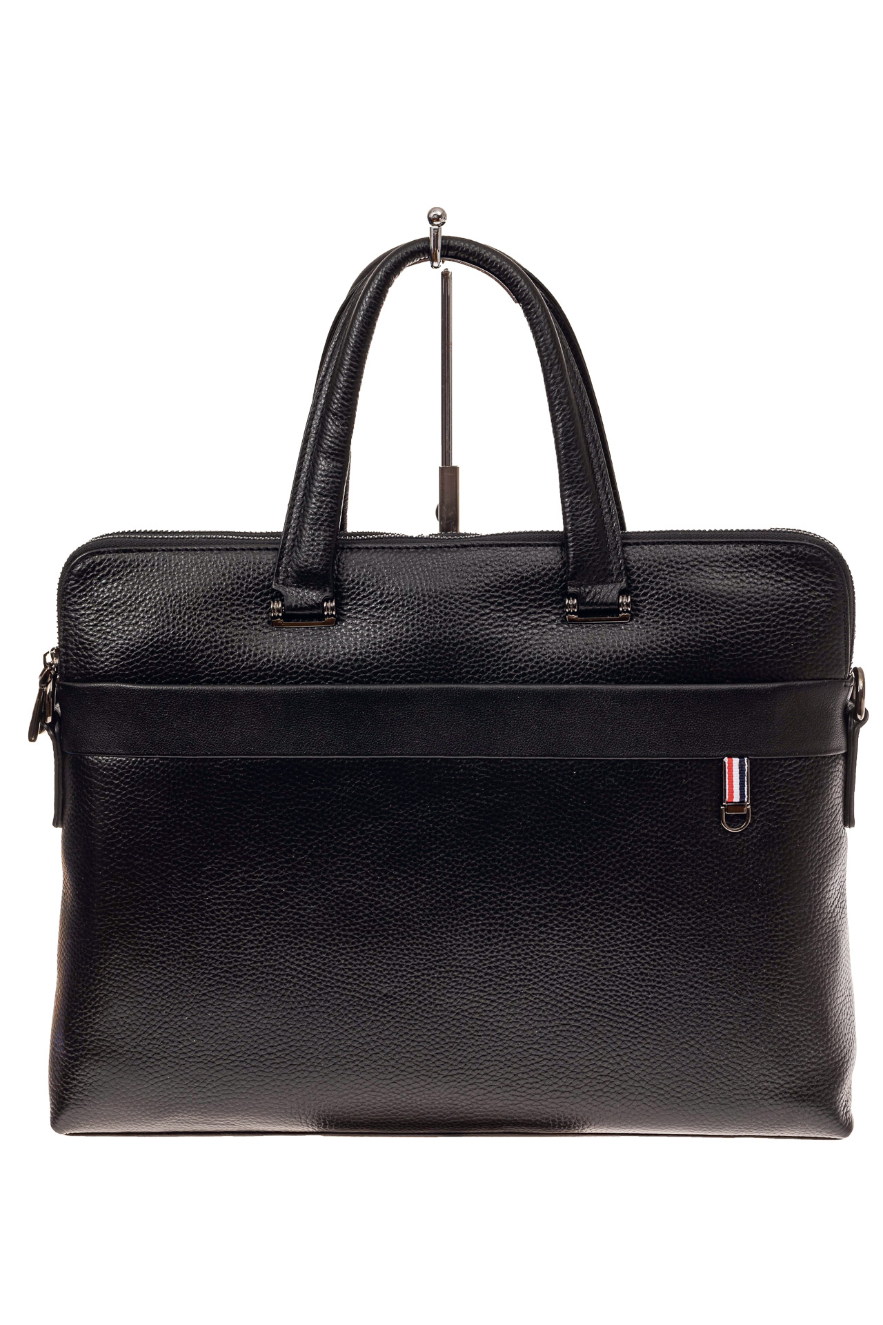 На фото 2 - Мужская сумка-папка из натуральной кожи, цвет черный