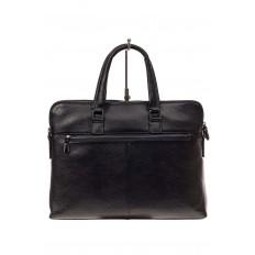 На фото 3 - Мужская сумка-папка из натуральной кожи, цвет черный