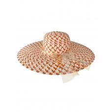 На фото 1 - Женская соломенная шляпа, цвет оранжевый