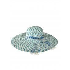 На фото 1 - Женская соломенная шляпа, цвет голубой