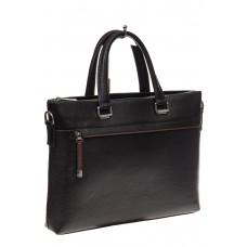 На фото 1 - Мужской портфель из натуральной кожи, цвет черный