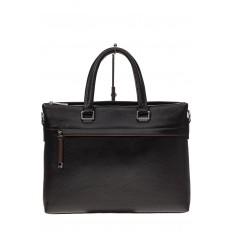 На фото 2 - Мужской портфель из натуральной кожи, цвет черный