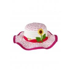 На фото 1 - Детская плетёная шляпка с декором, цвет белый и фуксия