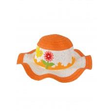 На фото 1 - Детская плетёная шляпка с декором, цвет белый с оранжевым