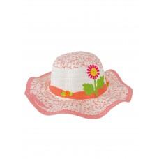 На фото 1 - Детская плетёная шляпка с декором, цвет белый с розовым