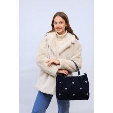 На фото 1 - Женская сумка хобо из натуральной замши и искусственной кожи, цвет синий