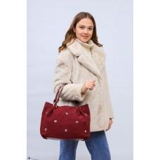 На фото 1 - Женская сумка хобо из натуральной замши и искусственной кожи, цвет бордо