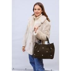 На фото 1 - Женская сумка хобо из натуральной замши и искусственной кожи, цвет зеленый