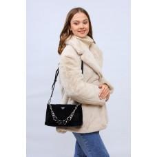 На фото 1 - Женская сумка кросс-боди  из натуральной замши и искусственной кожи, цвет черный