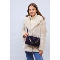 На фото 1 - Женская сумка кросс-боди  из натуральной замши и искусственной кожи, цвет фиолетовый
