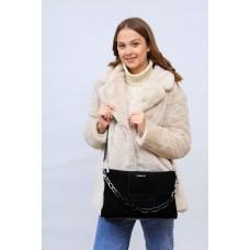 На фото 1 - Женская сумка клатч  из натуральной замши и искусственной кожи, цвет черный