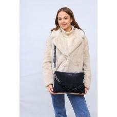 На фото 1 - Женская сумка клатч  из натуральной замши и искусственной кожи, цвет серый