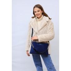 На фото 1 - Женская сумка клатч  из натуральной замши и искусственной кожи, цвет синий