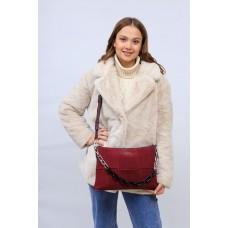 На фото 1 - Женская сумка клатч  из натуральной замши и искусственной кожи, цвет бордо