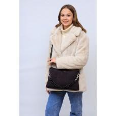 На фото 1 - Женская сумка клатч  из натуральной замши и искусственной кожи, цвет шоколад