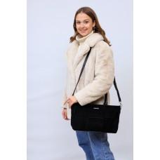 На фото 1 - Женская сумка   из натуральной замши и искусственной кожи, цвет черный