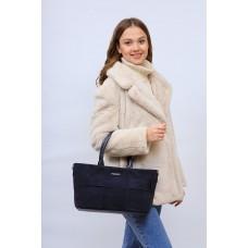 На фото 1 - Женская сумка   из натуральной замши и искусственной кожи, цвет серый