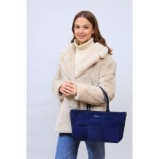 На фото 1 - Женская сумка   из натуральной замши и искусственной кожи, цвет синий