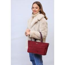На фото 1 - Женская сумка   из натуральной замши и искусственной кожи, цвет бордо