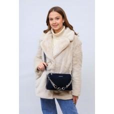 На фото 1 - Женская сумка кросс-боди  из натуральной замши и искусственной кожи, цвет синий