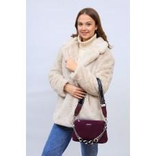 На фото 1 - Женская сумка кросс-боди  из натуральной замши и искусственной кожи, цвет бордо