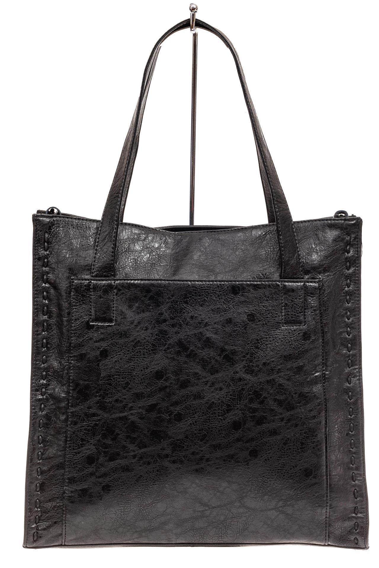 На фото 2 - Большая качественная сумка комбинированная, цвет черный