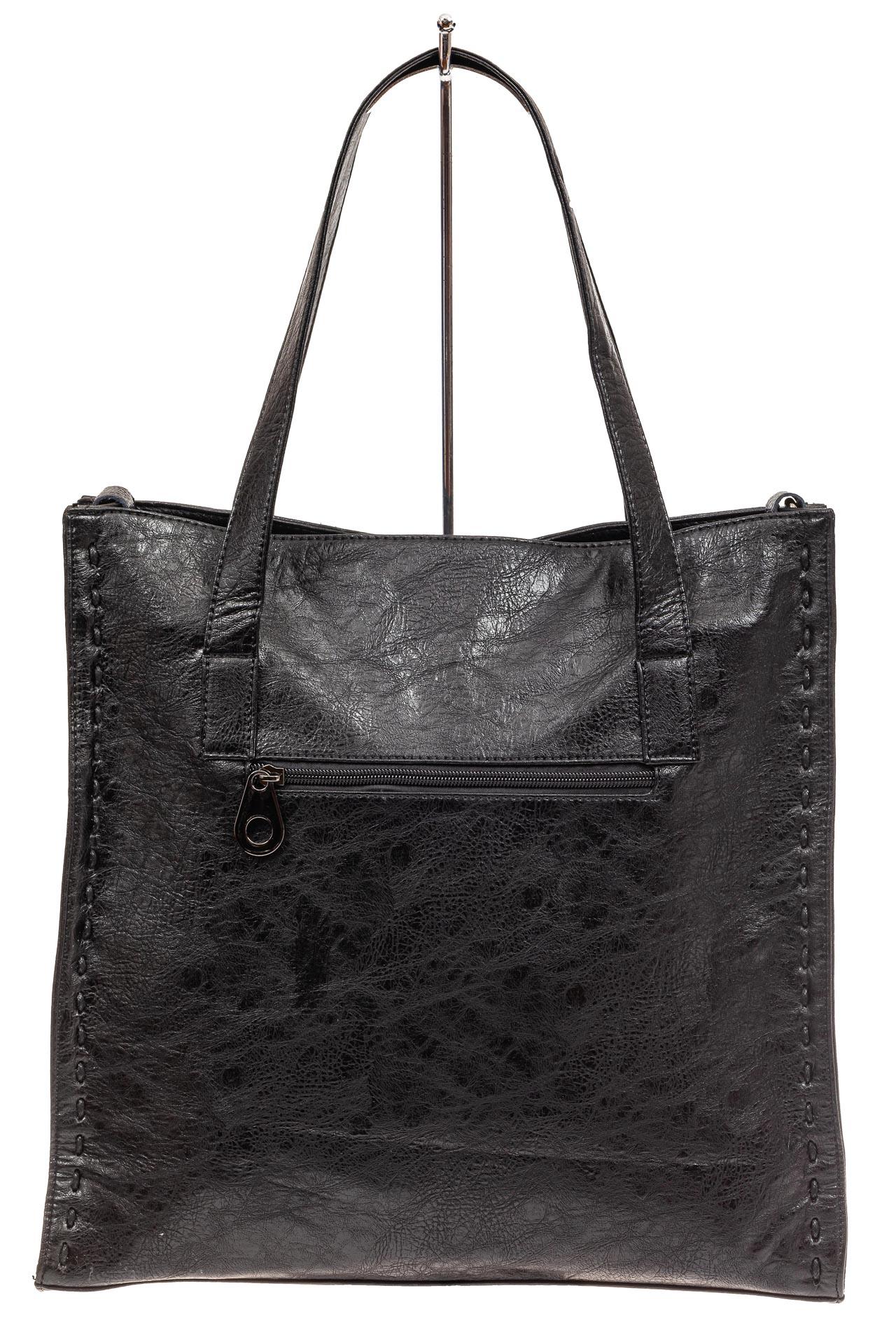 На фото 3 - Большая качественная сумка комбинированная, цвет черный