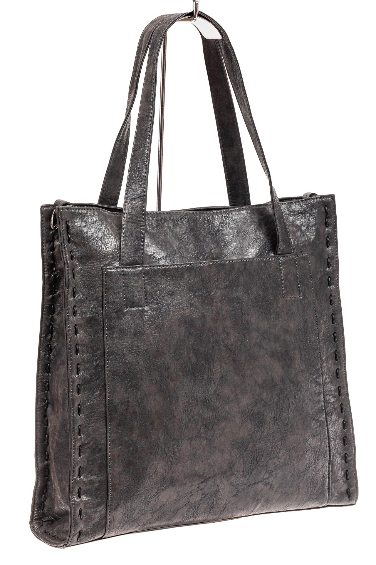 На фото 1 - Большая сумка женская комбинированная, серая