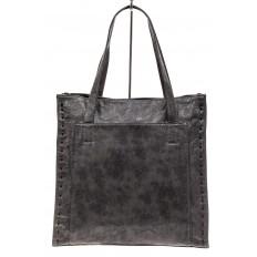 На фото 2 - Большая сумка женская комбинированная, серая