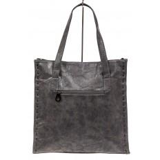 На фото 3 - Большая сумка женская комбинированная, серая