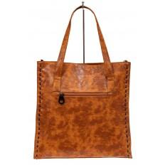 На фото 3 - Большая сумка женская из экокожи, рыжая