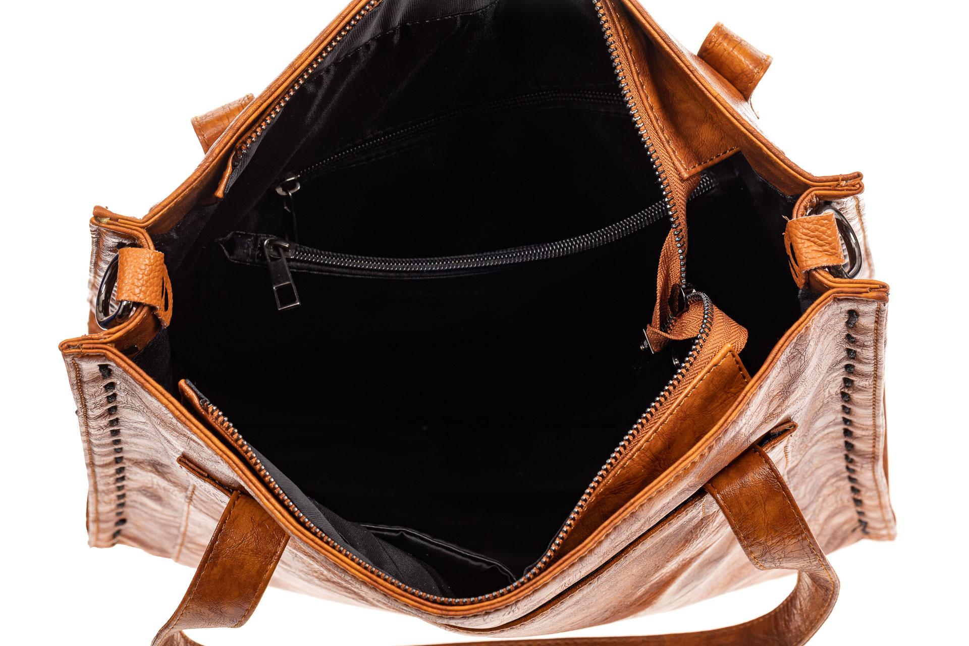 На фото 4 - Большая сумка женская из экокожи, рыжая