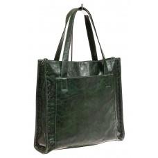 На фото 1 - Большая сумка женская комбинированная, цвет зеленый