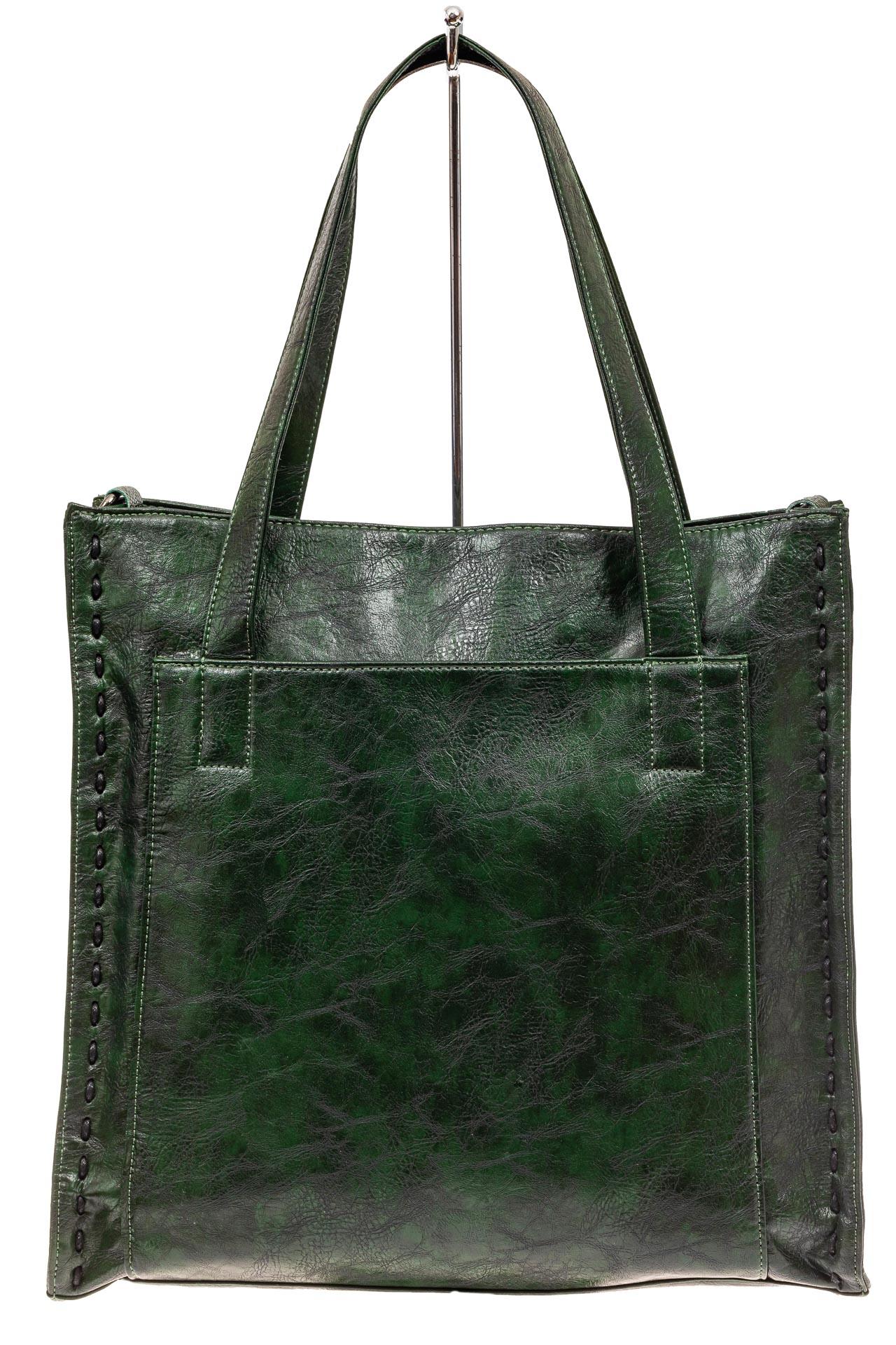 На фото 2 - Большая сумка женская комбинированная, цвет зеленый