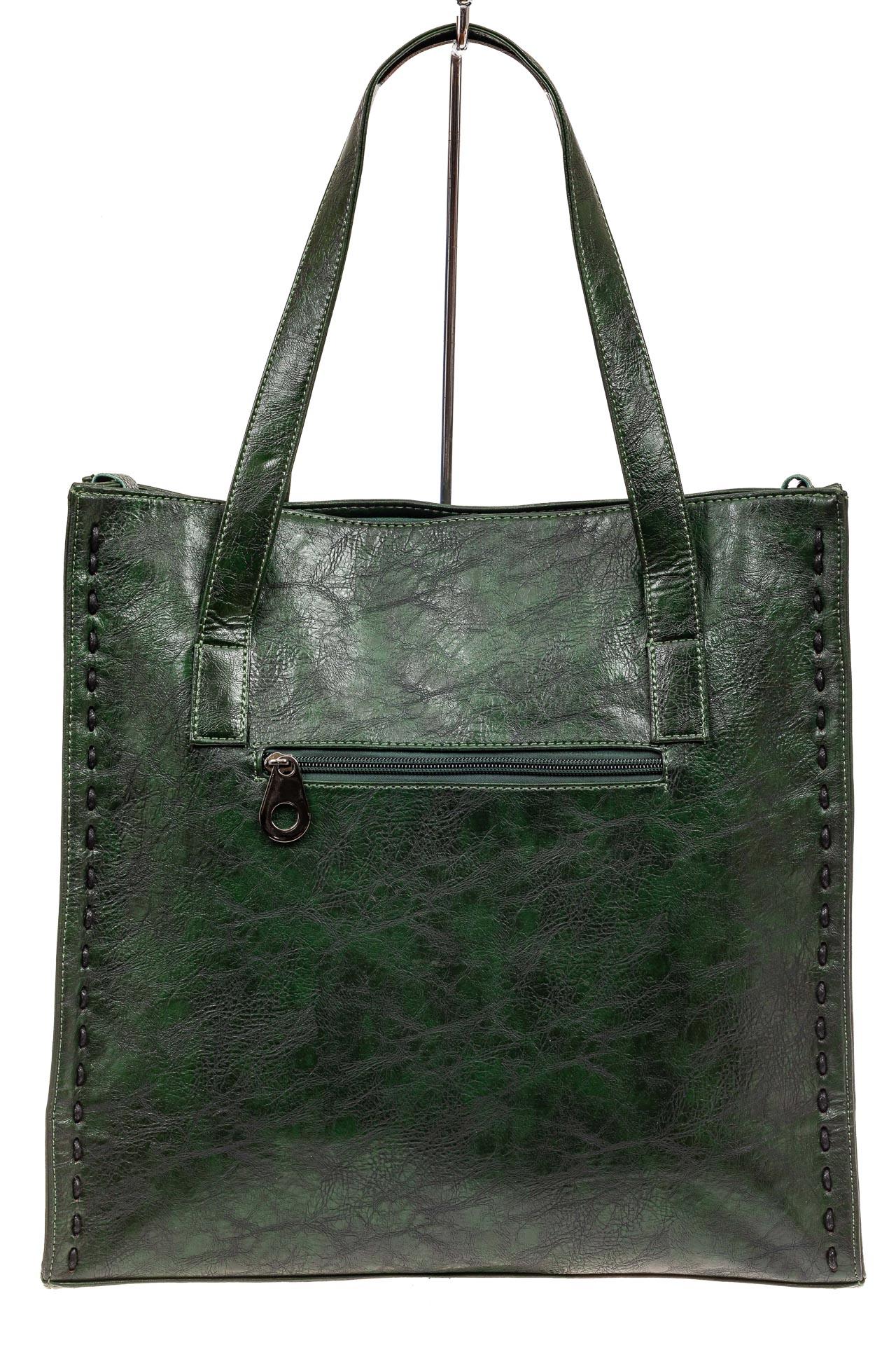 На фото 3 - Большая сумка женская комбинированная, цвет зеленый
