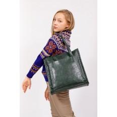 На фото 5 - Большая сумка женская комбинированная, цвет зеленый