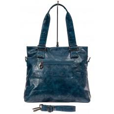 На фото 3 - Сумка женская тоут из натуральной и искусственной кожи, цвет синий