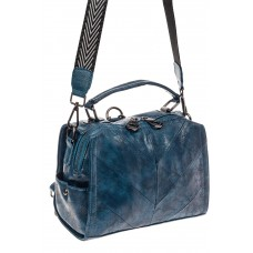 На фото 1 - Сумка -рюкзак женская из искусственной кожи, цвет синий