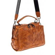 На фото 1 - Сумка-рюкзак женская из искусственной кожи, цвет рыжий