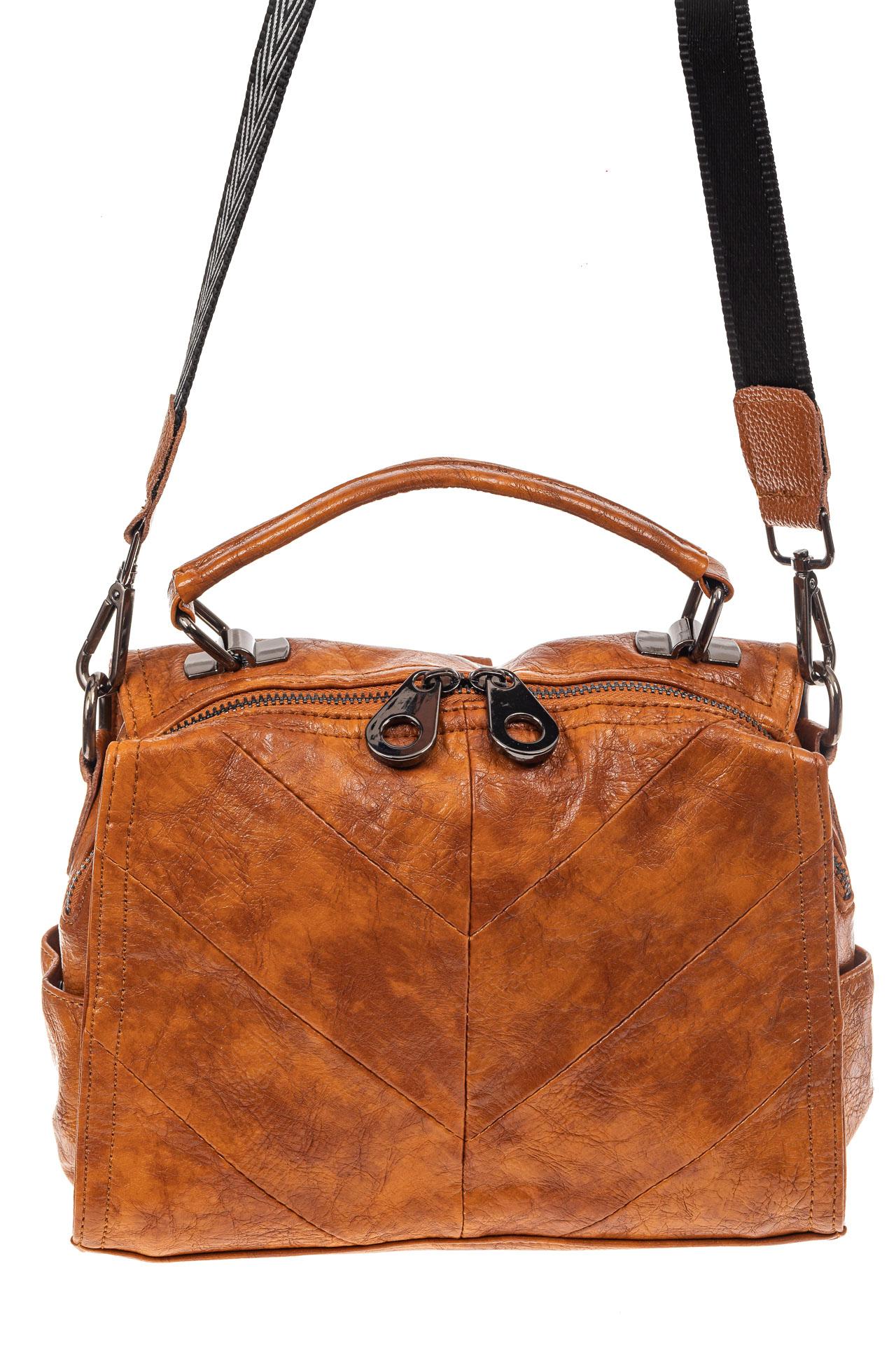 На фото 2 - Сумка женская рюкзак из искусственной кожи, цвет рыжий