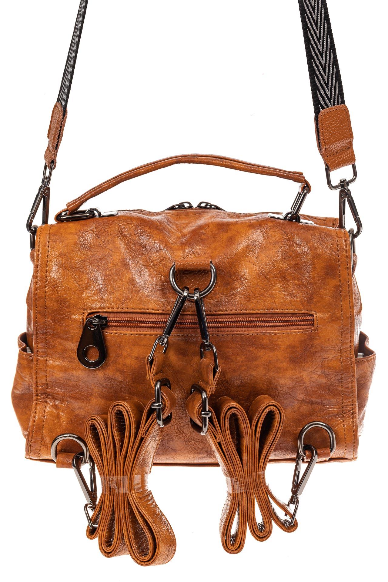 На фото 3 - Сумка женская рюкзак из искусственной кожи, цвет рыжий